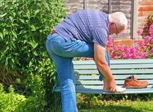 Smärtsam fot, skada eller artrit arkivbild