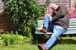 Smärtsam fot, skada eller artrit royaltyfria foton