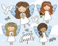 Små änglar i den vita klänningvektorillustrationen vektor illustrationer