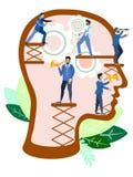 Små arbetare byter ut organ i huvudet I minimalist stil Plan vektor för tecknad film royaltyfri illustrationer