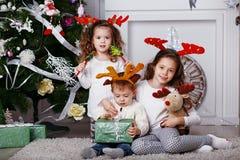 Små barn i renhorn på kronhjort royaltyfri fotografi