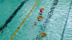 Små barn som utbildar i simbassäng arkivfilmer