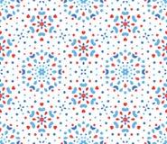 Små blått och röd blomma Dots Pattern Arkivbilder