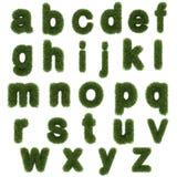 Små bokstäver av alfabetet för grönt gräs som isoleras på vit Arkivfoto