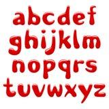 Små bokstäver för rött glansigt alfabet som isoleras på vit bakgrund stock illustrationer
