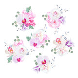 Små bröllopbuketter i lila-, rosa färg- och vitsignaler royaltyfri illustrationer