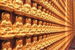 Små buddhas på en vägg Royaltyfria Bilder