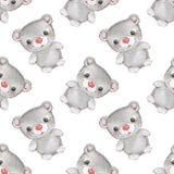 Små djur för skog Modell 3 för vattenfärg för nallebjörn sömlös Royaltyfria Bilder