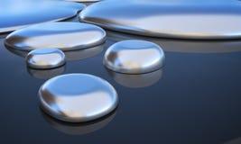 Små droppar av vätskemetall - kvicksilver framförd illustration 3d royaltyfri illustrationer