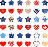 Små färgrika dekorativa stjärnor och hjärtor Royaltyfri Fotografi