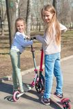 Små förtjusande flickor som rider på sparkcyklar parkerar in, utomhus Fotografering för Bildbyråer