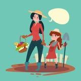 Små flickabönder dotter och utrymme för kopia för baner för skörd för moderhållspade växande stock illustrationer