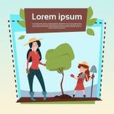 Små flickabönder dotter och utrymme för kopia för baner för träd för moderhållspade växande stock illustrationer