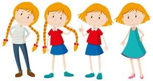 Små flickor med långt och kort hår Arkivbilder