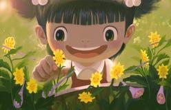 Små flickor och blommor royaltyfri illustrationer