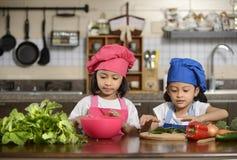 Små flickor som förbereder sund mat Royaltyfria Bilder