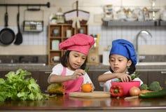 Små flickor som förbereder sund mat Arkivfoto