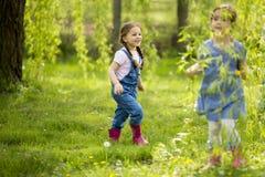 Små flickor som playuing i skogen fotografering för bildbyråer