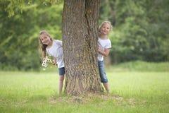 Små flickor som spelar kurragömma Arkivfoton