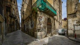 Små gator av palermo, Sicilien Arkivbilder