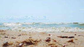 Små havsvågor som kraschar på vit sand på en klar sommardag stock video