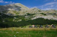 Små hus och gräsäng nära den Negushi byn, Montenegro arkivfoto