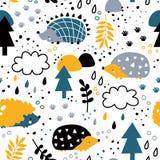 Små igelkottar i skog royaltyfri illustrationer
