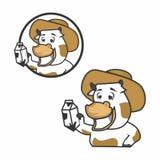 Små kor bär mjölkar med logobegreppet stock illustrationer