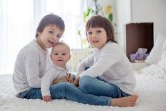 Små litet barn- och förträningspojkar som spelar med deras lilla bro Royaltyfria Bilder