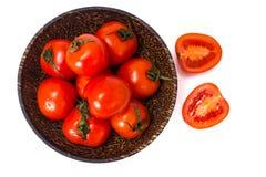 Små nya tomater i en bunke Arkivbild