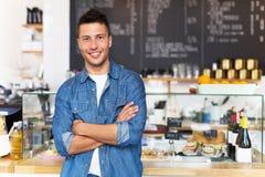 Små och medelstora företagägare i kafé Arkivfoto