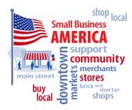 Små och medelstora företag Amerika, USA flagga Arkivfoton