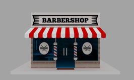 Små och medelstora företag: Barberaren shoppar framdelen vektor illustrationer