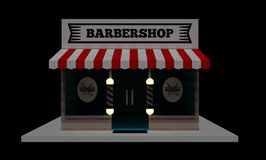 Små och medelstora företag: Barberaren shoppar framdelen royaltyfri illustrationer