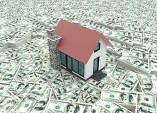 Små röda hus 3D på högen av pengar i bakgrund royaltyfri illustrationer
