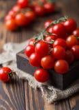 Små röda körsbärsröda tomater på lantlig bakgrund Cherrytomater på vinen Royaltyfri Foto