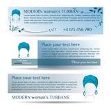 Små reklamblad för mall tre med kvinnan i turban Stock Illustrationer