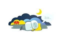 Små robotsömnar som ligger på kudden, har den ankommna raket och att sova Sammanträde för vinterdvala för sömnfunktionsläge Stäng vektor illustrationer
