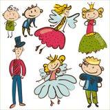 Små roller från magiskt kungarike isolerad illustratio stock illustrationer