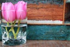 Små rosa tulpan i en vas med målad träbakgrund Royaltyfria Bilder