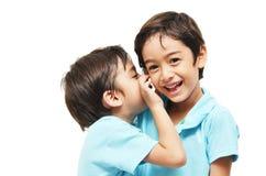 Små siblingpojkar som delar en hemlighet Arkivfoton