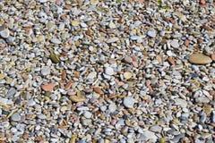 Små stenar på en strand som används som bakgrund eller textur för grafiskt begrepp royaltyfria bilder
