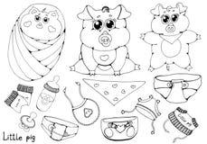 Små svin i olikt poserar Rent och gyttja Plan vektorillustration som isoleras på vit bakgrund vektor illustrationer
