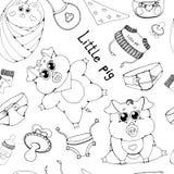 Små svin i olikt poserar Rent och gyttja Plan vektorillustration som isoleras på vit bakgrund royaltyfri illustrationer