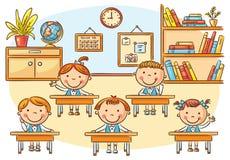 Små tecknad filmungar i klassrumet på kursen royaltyfri illustrationer