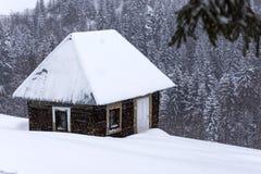 Små trähus på rumänska berg på vintern kryddar Arkivfoton