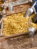 Små träspjällådor med olika typer av den finhackade kryddor och graien Arkivfoton