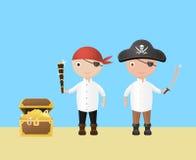 Små två piratkopierar stock illustrationer