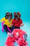 Små tvilling- systrar som har ferielynne, medan spela med den rosa boaen royaltyfria bilder