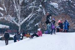 Små ungar och folk som tycker om på snö och sledding ner kullarna royaltyfria foton